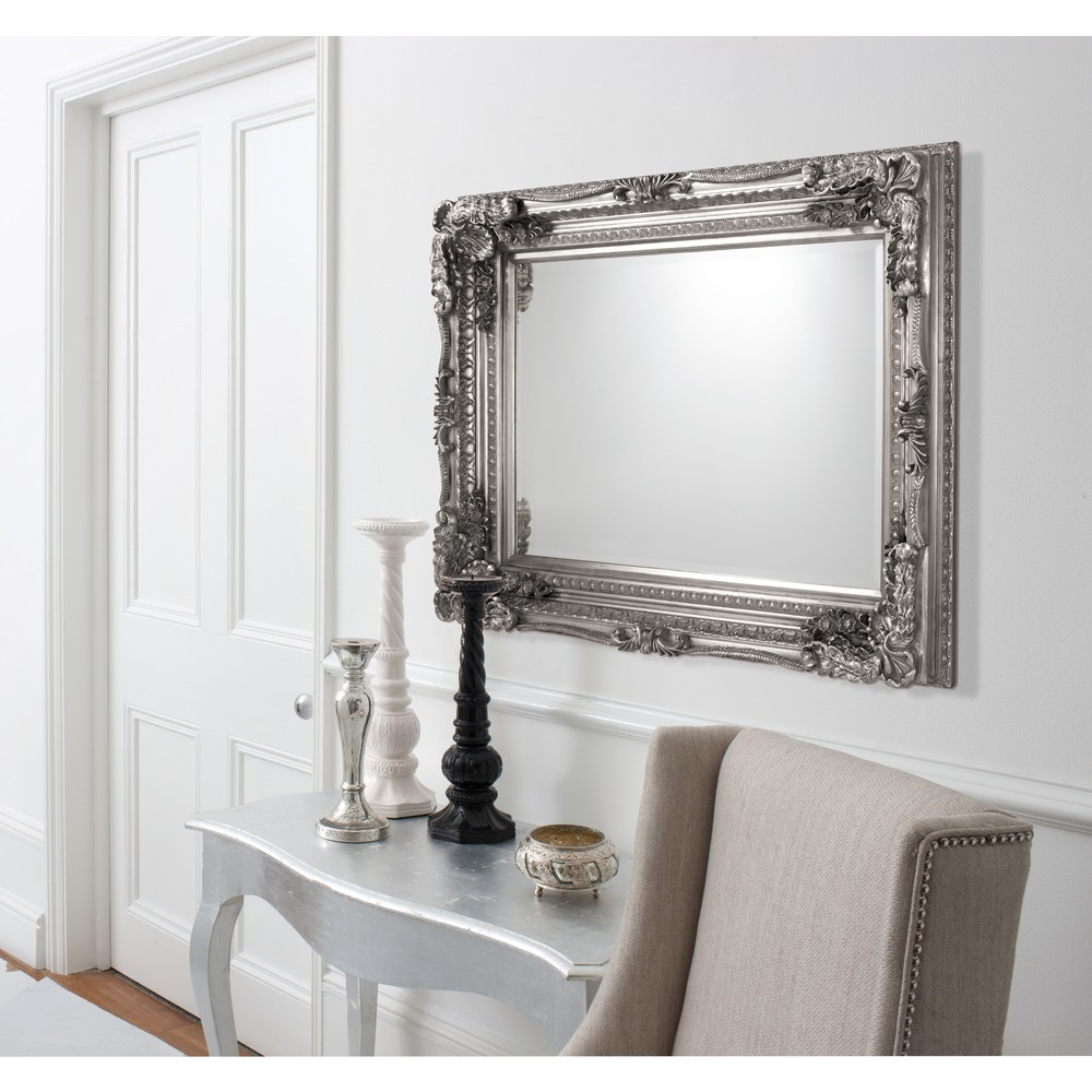 Carved Louis Rectangle Wall Mirror Silver Leaf