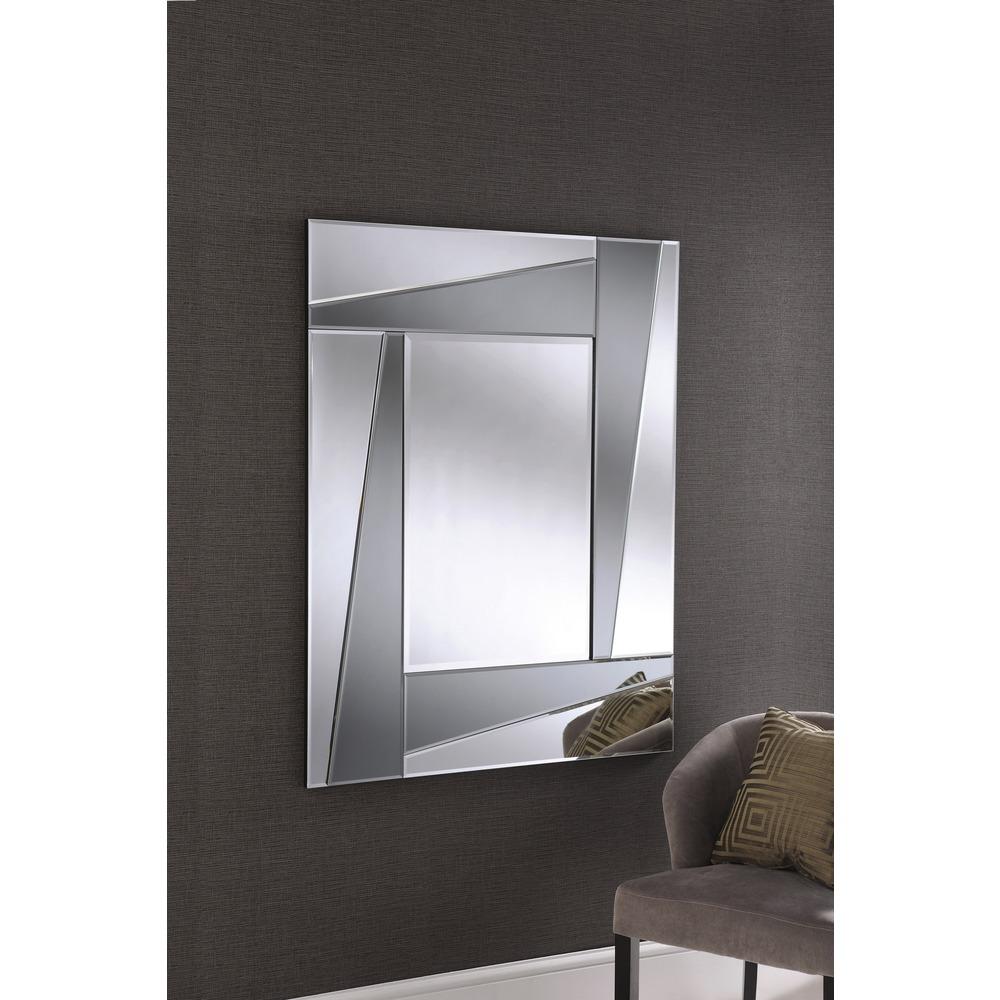 Smoked art deco wall mirror
