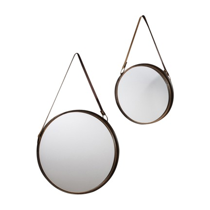 Marston Leather Strap Mirror Set of 2
