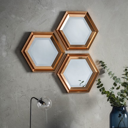 Fawkner Hexagonal Mirror - Set Of 3