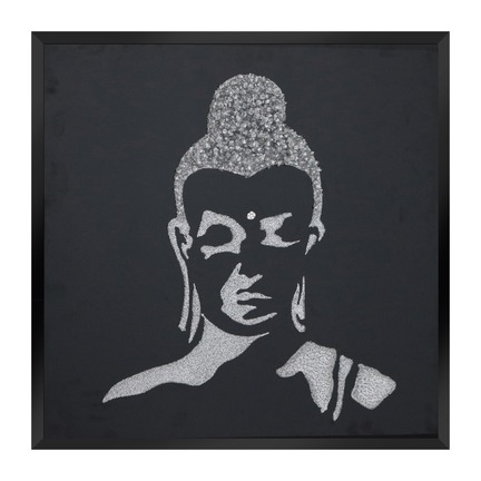 Silver Glitter Buddha on Black Mirror Art