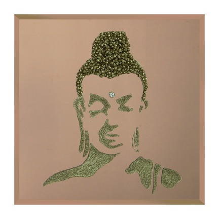 Gold Glitter Buddha on Bronze Mirror Art