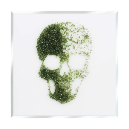 Green Glitter Cluster Skull on White Mirror Art