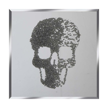 Silver Glitter Cluster Skull on Mirror Art