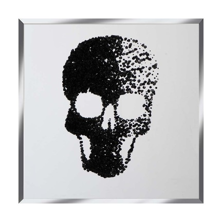 Black Glitter Cluster Skull on Mirror Art