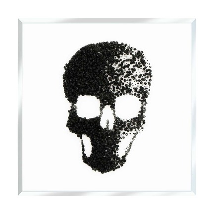 Black Glitter Cluster Skull on White Mirror Art