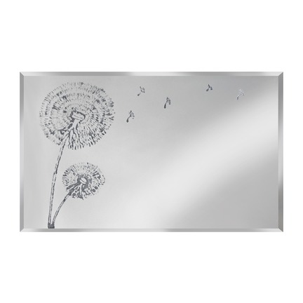 Silver Dandelion on Mirror Wall Art