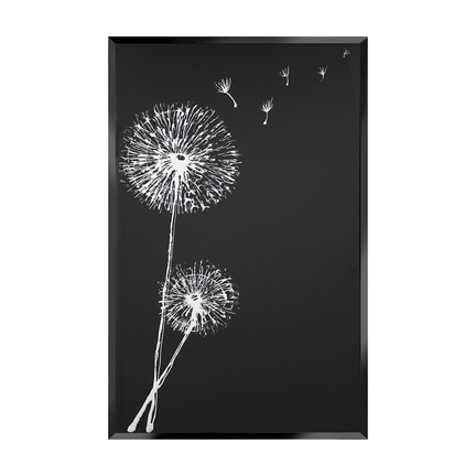 White Dandelion on Black Wall Art