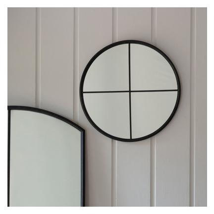 Frida Round Metal Mirror Black