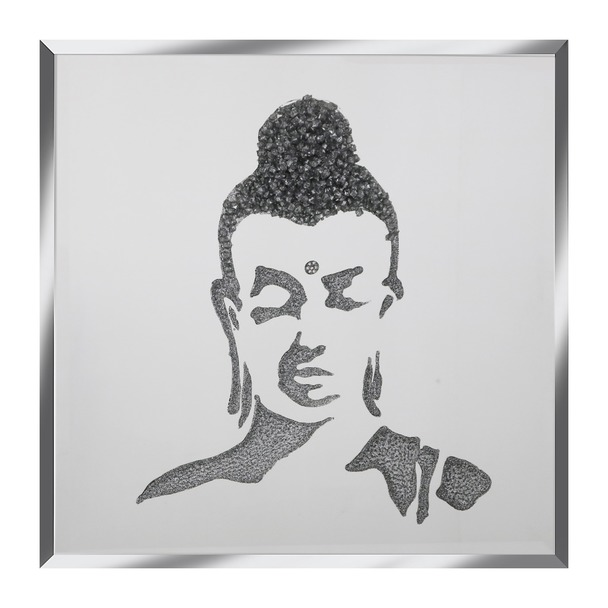 Silver Glitter Buddha on Silver Mirror Art