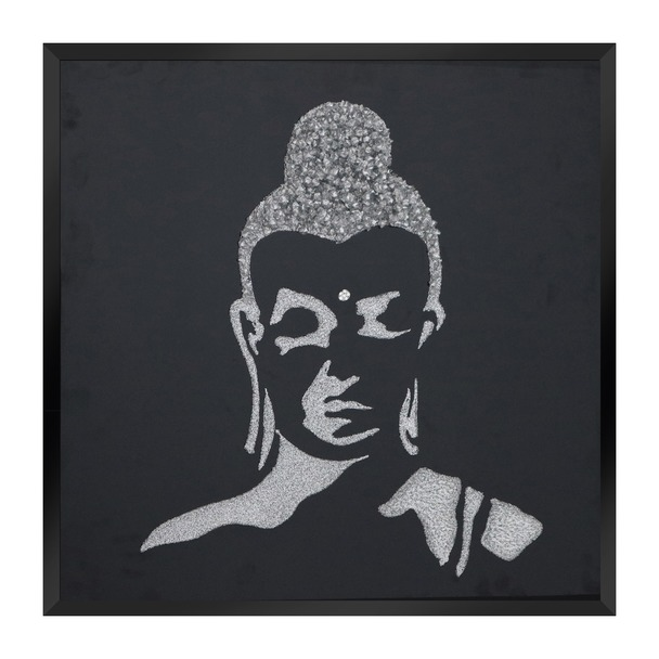 Silver Glitter Buddha on Black Mirror Art