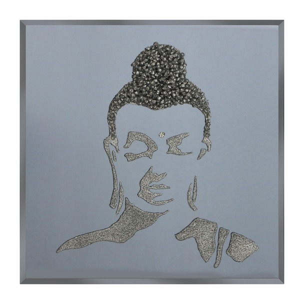 Silver Glitter Buddha on Smoke Mirror Art