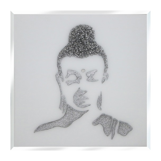Silver Glitter Buddha on White Mirror Art