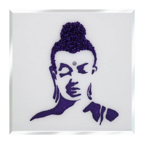 Purple Glitter Buddha on White Mirror Art