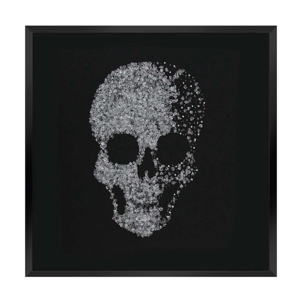 Silver Glitter Cluster Skull on Black Mirror Art