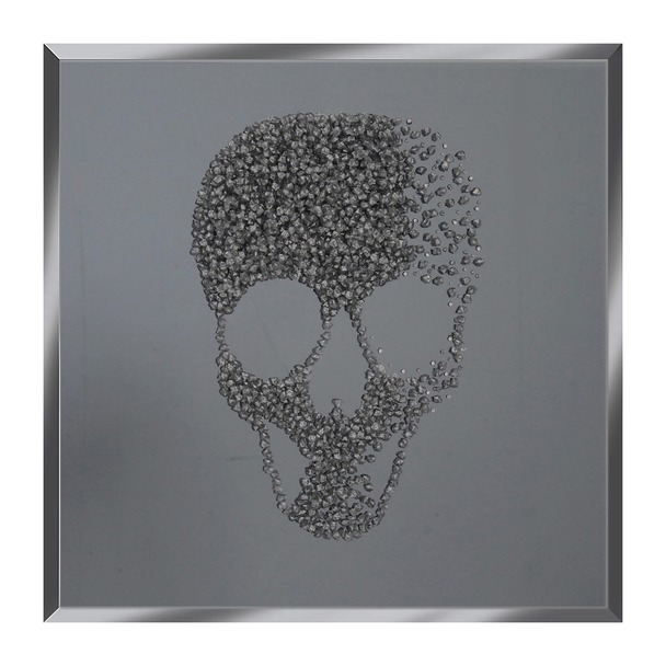 Silver Glitter Cluster Skull on Smoke Mirror Art