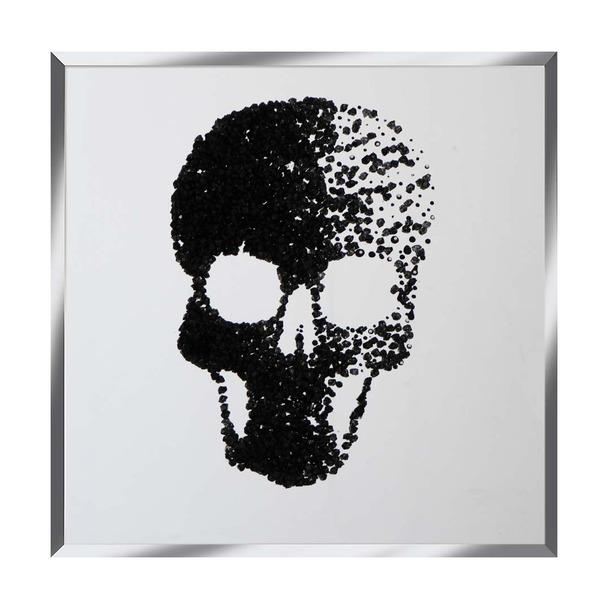 Black Glitter Cluster Skull on Mirror Art