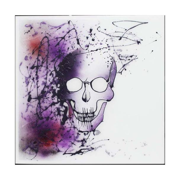 Abstract Purple Sprayed Skull on White Mirror Art