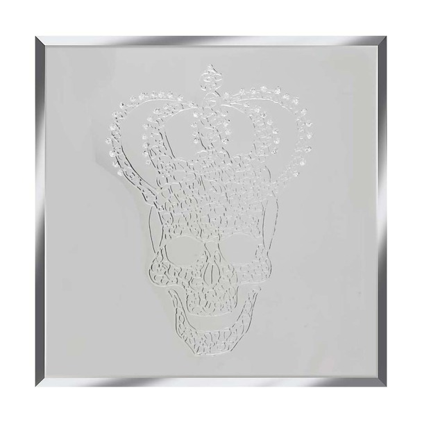Silver Glitter Crowned Skull on White Mirror Art