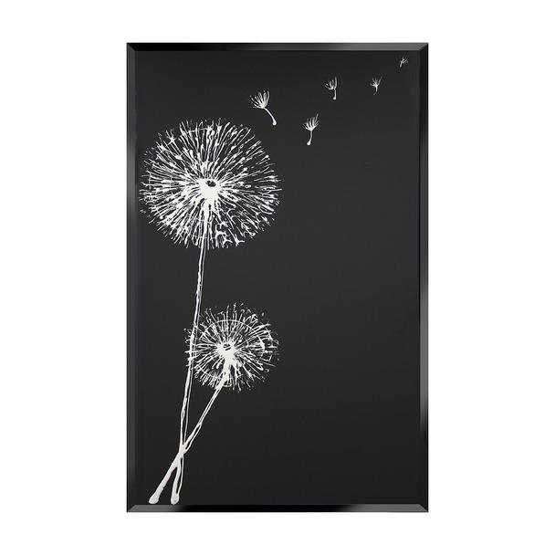 White Dandelion on Black Wall Art