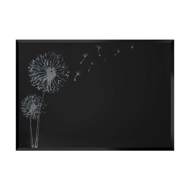 Solid Silver Dandelion on Black Wall Art