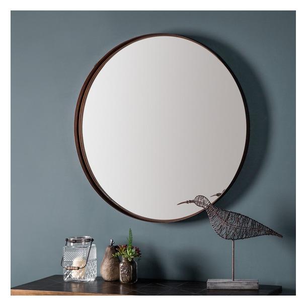 Greystoke Bronze Metal Round Mirror