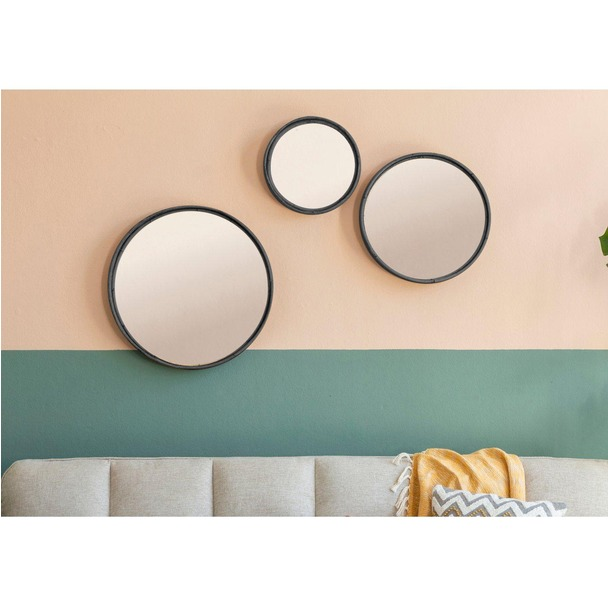 Rico Set of 3 Round Mirrors Charcoal